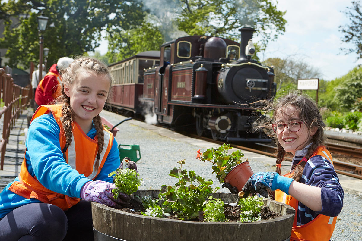 Volunteer gardeners at Minffordd on the Ffestiniog Railway