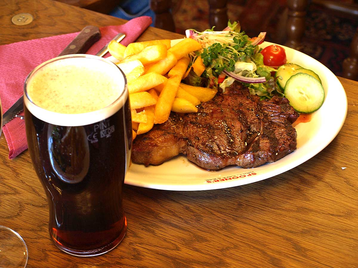 A juicy Spooner's steak and a pint - What's not to like?